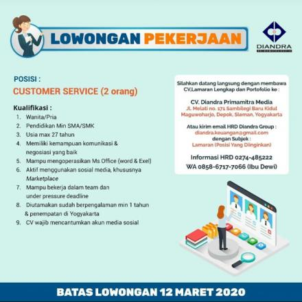 Lowongan Kerja untuk Posisi Customer Service CV. Diandra Primamitra Media