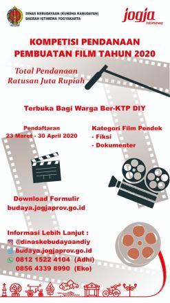 Kompetisi Pendanaan Pembuatan Film 2020 oleh Dinas Kebudayaan DIY