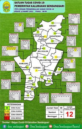 Peta Persebaran Covid-19 Kalurahan Sendangsari 12 Maret 2021